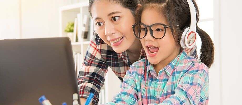Online Elementary School - student and mom
