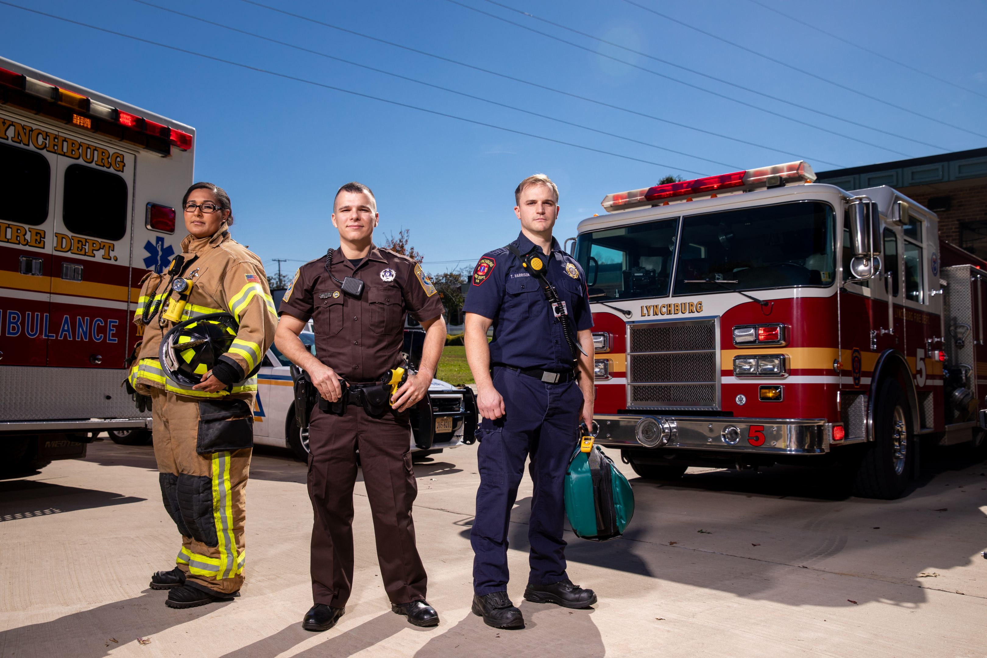 Photo of fire fighter and police officers